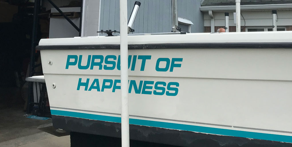 Pursuit of Happiness Boat Vehicle Wrap